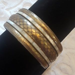 Jewelry - Art Deco Bangle Gold Tone & Faux Pearl Inlay VTG